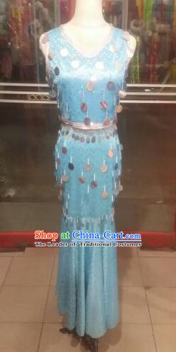 Traditional Chinese Dai Nationality Peacock Dance Costume China Folk Dance Dress for Women
