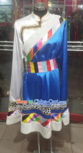 Chinese Traditional Tibetan Folk Dance Costume China Zang Nationality Clothing for Men