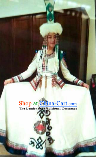 Chinese Traditional Mongolian Folk Dance Wedding Costume China Mongol Nationality Princess Dress for Women