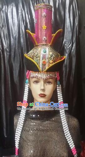 Chinese Traditional Mongolian Princess Rosy Hats China Mongol Nationality Wedding Headwear for Women