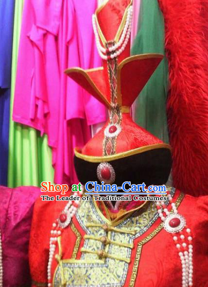 Chinese Traditional Mongolian Princess Red Hats China Mongol Nationality Wedding Headwear for Women