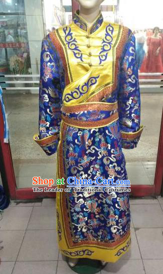 Chinese Traditional Mongolian Costume China Mongol Nationality Folk Dance Mongolian Robe for Men