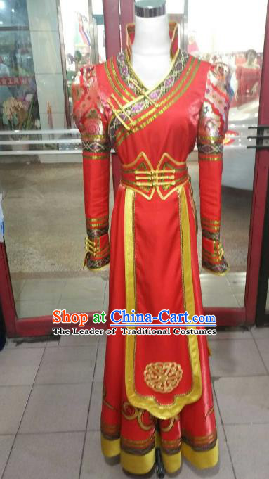 Chinese Traditional Mongolian Costume China Mongol Nationality Folk Dance Red Mongolian Robe for Women