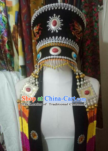 Chinese Traditional Mongolian Wedding Black Hats Mongol Nationality Folk Dance Headwear for Women