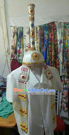 Chinese Traditional Mongolian Wedding White Hats Mongol Nationality Folk Dance Headwear for Women