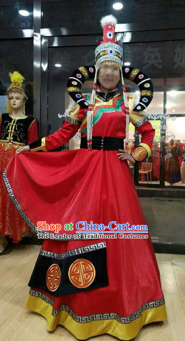 Chinese Traditional Mongolian Folk Dance Clothing China Mongol Nationality Costume and Hat for Women