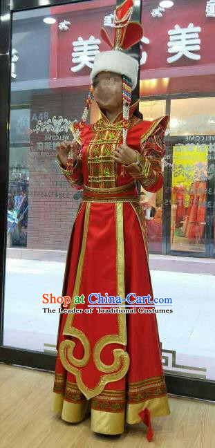 Chinese Traditional Mongolian Folk Dance Clothing China Mongol Nationality Wedding Red Dress for Women