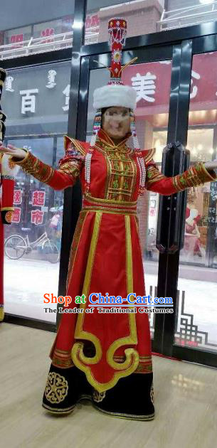 Chinese Traditional Mongolian Folk Dance Clothing China Mongol Nationality Bride Wedding Red Dress for Women