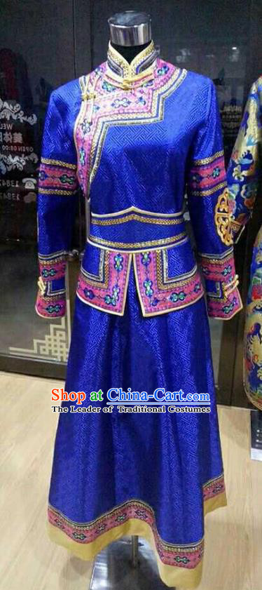 Chinese Traditional Mongolian Folk Dance Clothing China Mongol Nationality Bride Blue Dress for Women