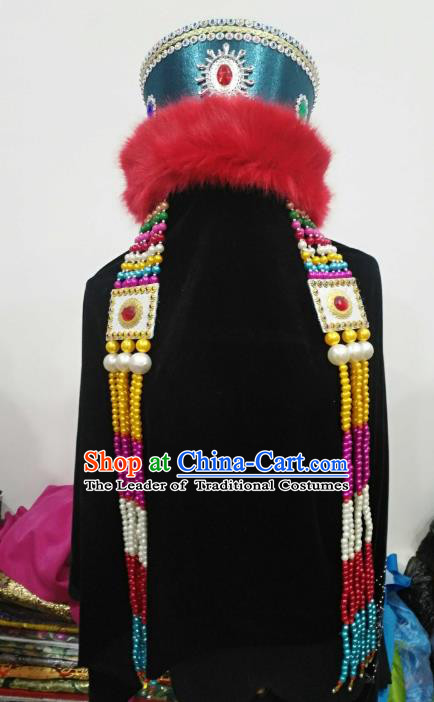 Chinese Traditional Mongolian Hats Mongol Nationality Hair Accessories Folk Dance Headwear for Women