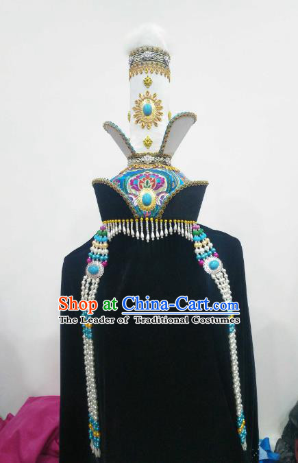 Chinese Traditional Mongolian Princess Hats Mongol Nationality Hair Accessories Folk Dance Headwear for Women