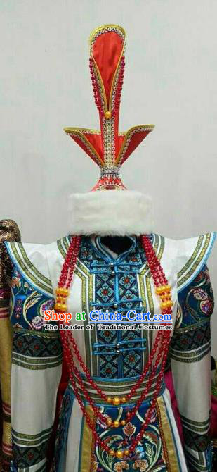 Chinese Traditional Mongolian Fur Hats Mongol Nationality Hair Accessories Folk Dance Headwear for Women