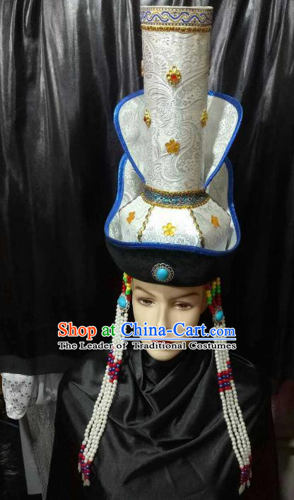 Chinese Traditional Mongolian Wedding White Hats China Mongol Nationality Bride Headwear for Women