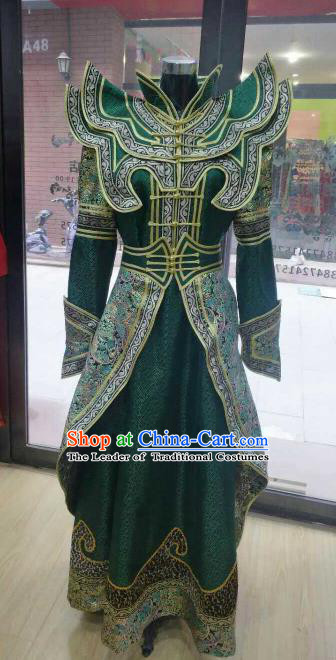 Chinese Traditional Mongolian Folk Dance Green Dress China Mongol Nationality Bride Costume for Women