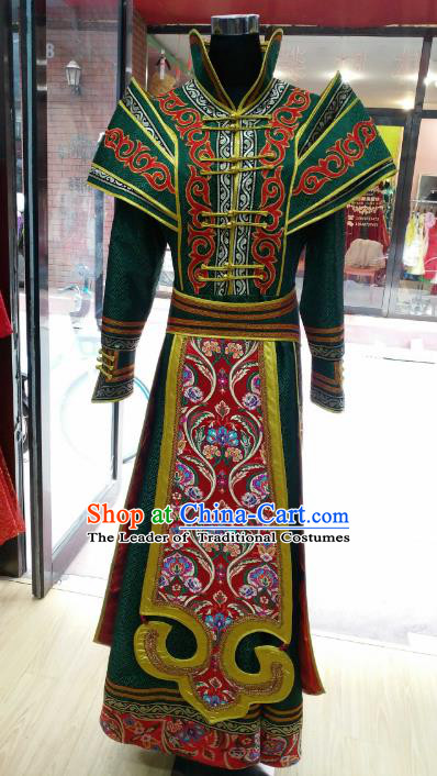 Chinese Traditional Mongolian Green Dress China Mongol Nationality Folk Dance Costume for Women