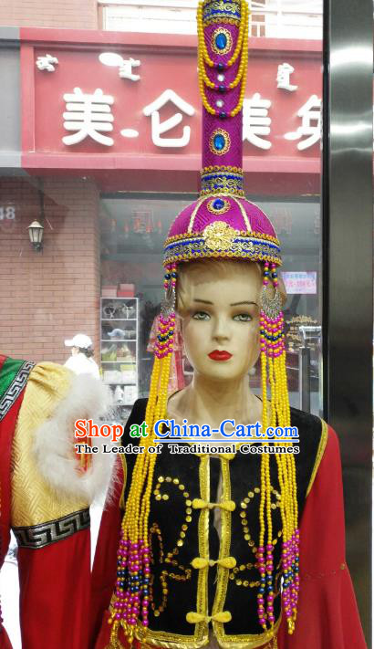 Chinese Traditional Mongolian Rosy Hats Mongol Nationality Hair Accessories Folk Dance Headwear for Women