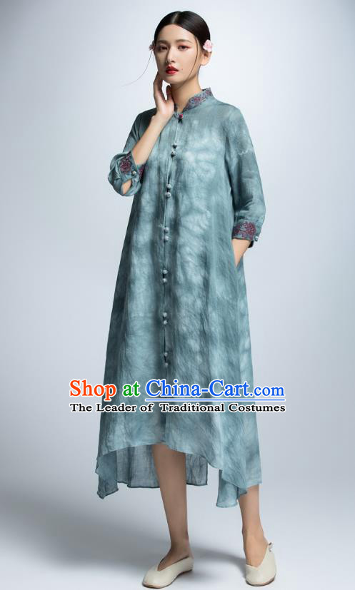 Chinese Traditional Blue Cheongsam Dress China National Costume for Women