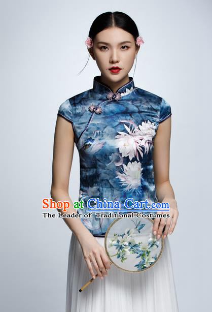 Chinese Traditional Costume Printing Blue Cheongsam Blouse China National Upper Outer Garment Shirt for Women