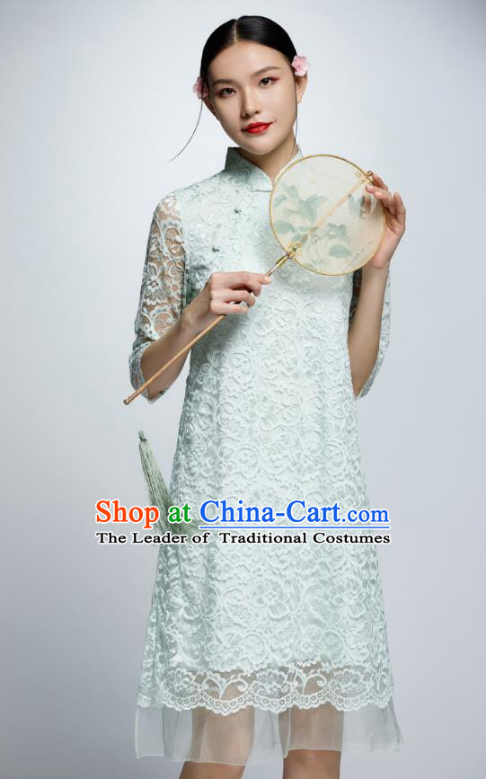 Chinese Traditional Green Lace Cheongsam China National Costume Qipao Dress for Women
