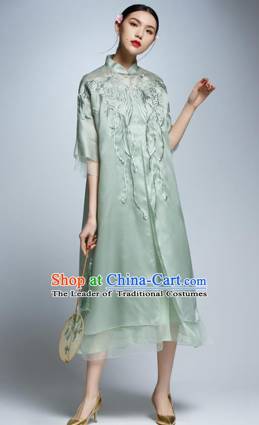 Chinese Traditional Embroidered Cheongsam China National Costume Tang Suit Qipao Dress for Women