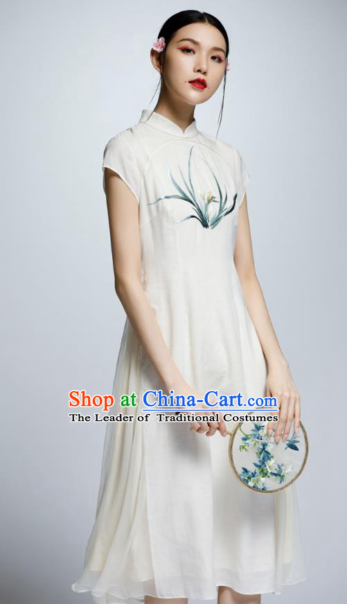 Chinese Traditional Embroidered Orchid Cheongsam China National Costume Tang Suit Qipao Dress for Women