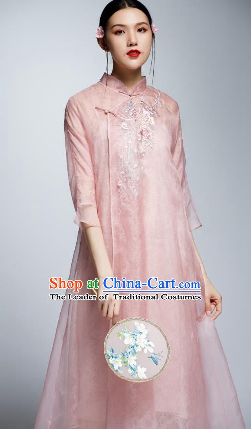 Chinese Traditional Embroidered Pink Cheongsam China National Costume Tang Suit Qipao Dress for Women