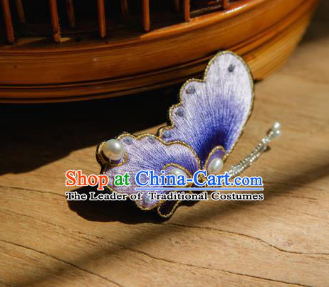 Chinese Traditional Cheongsam Accessories Embroidered Purple Butterfly Brooch for Women