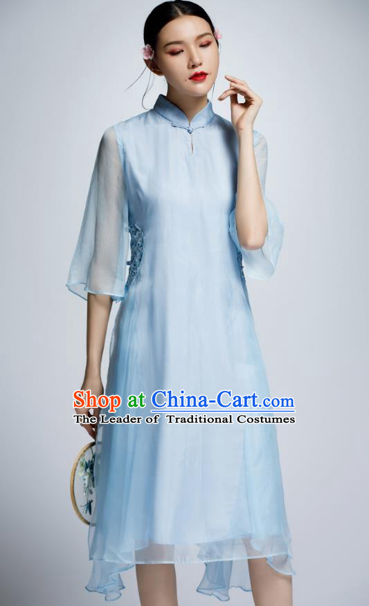 Chinese Traditional Blue Organza Cheongsam China National Costume Tang Suit Qipao Dress for Women