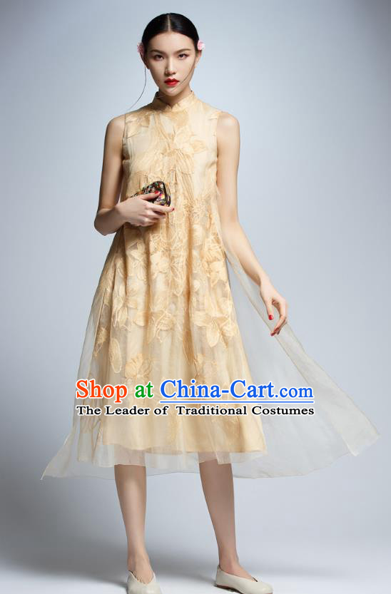 Chinese Traditional Golden Cheongsam China National Costume Tang Suit Qipao Dress for Women