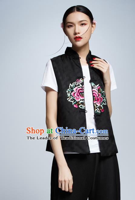 Chinese Traditional Costume Black Cheongsam Vest China National Upper Outer Garment Waistcoat for Women