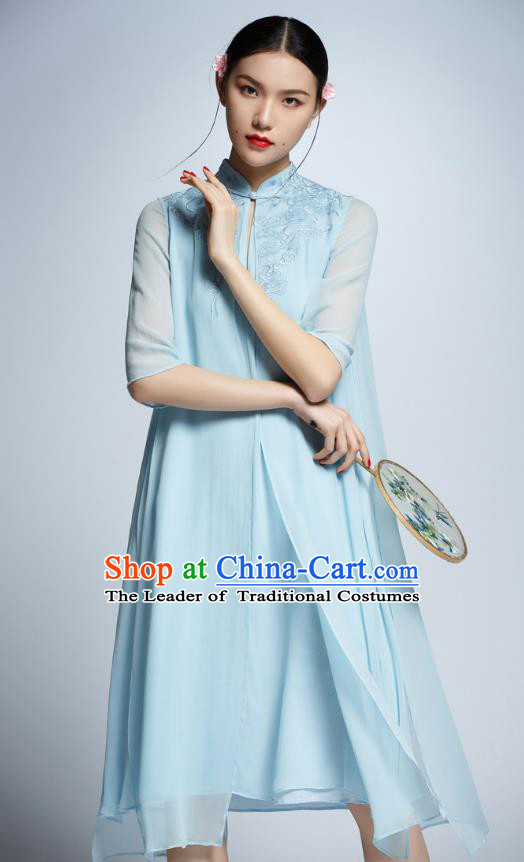 Chinese Traditional Embroidered Blue Cheongsam China National Costume Tang Suit Qipao Dress for Women