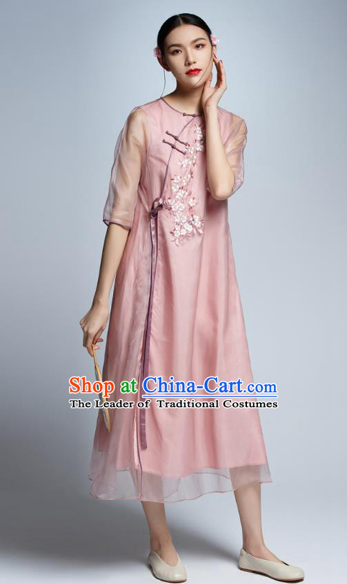 Chinese Traditional Embroidered Pink Organza Cheongsam China National Costume Tang Suit Qipao Dress for Women