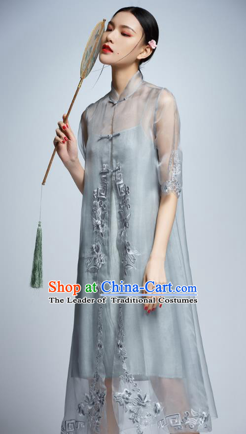 Chinese Traditional Embroidered Grey Organza Cheongsam China National Costume Tang Suit Qipao Dress for Women