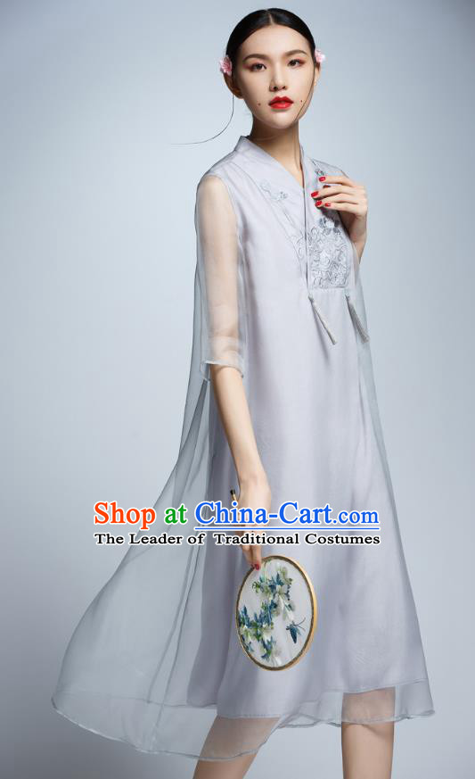 Chinese Traditional Embroidered Grey Cheongsam China National Costume Tang Suit Qipao Dress for Women