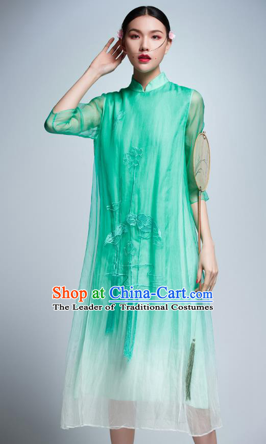 Chinese Traditional Embroidered Lotus Green Cheongsam China National Costume Tang Suit Qipao Dress for Women