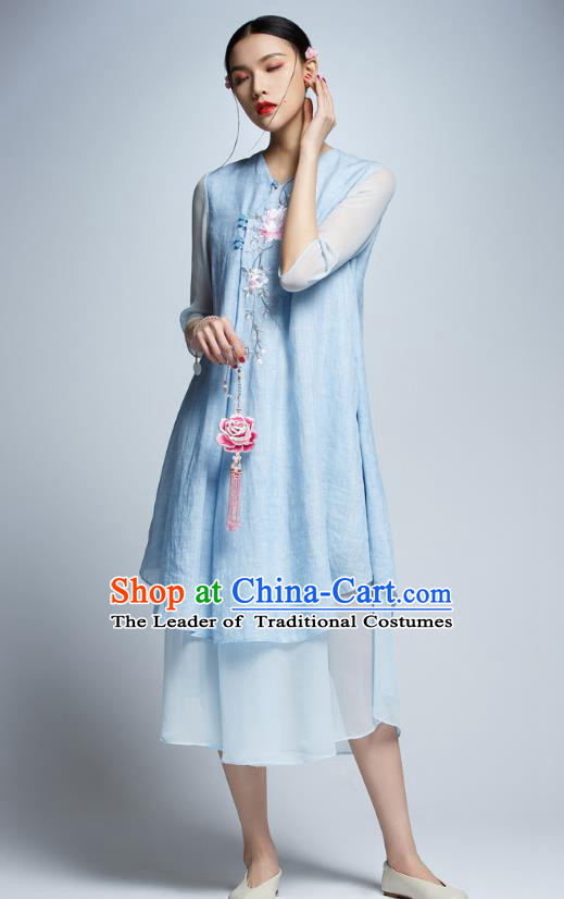 Chinese Traditional Embroidered Peony Blue Cheongsam China National Costume Tang Suit Qipao Dress for Women