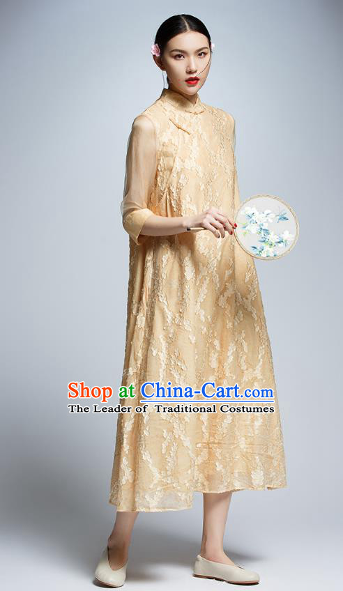 Chinese Traditional Embroidered Yellow Lace Cheongsam China National Costume Tang Suit Qipao Dress for Women