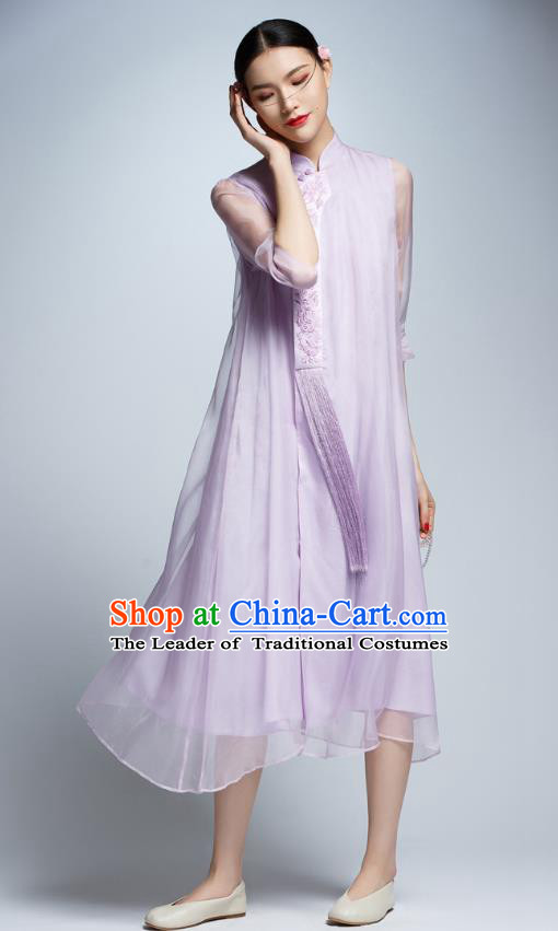 Chinese Traditional Embroidered Lilac Cheongsam China National Costume Tang Suit Qipao Dress for Women