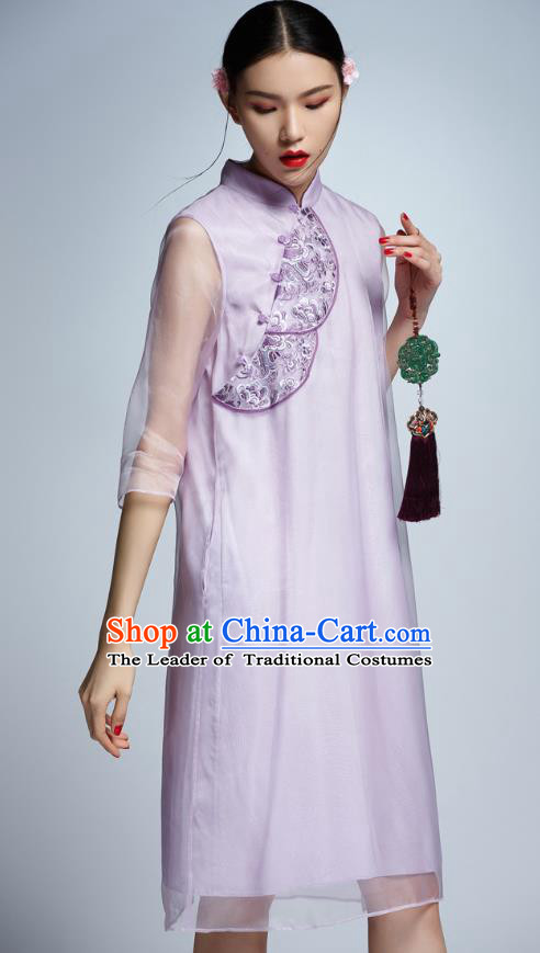 Chinese Traditional Embroidered Organza Purple Cheongsam China National Costume Tang Suit Qipao Dress for Women