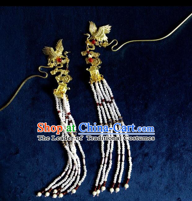 Chinese Traditional Hair Accessories Crane Tassel Step Shake Ancient Hanfu Hairpins for Women