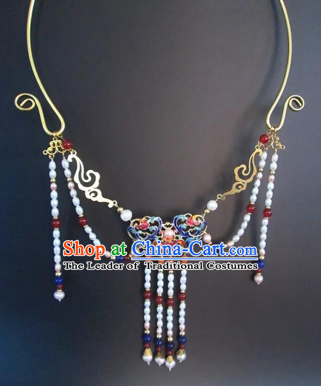 Chinese Traditional Jewelry Accessories Ancient Hanfu Blueing Pearls Tassel Necklace for Women