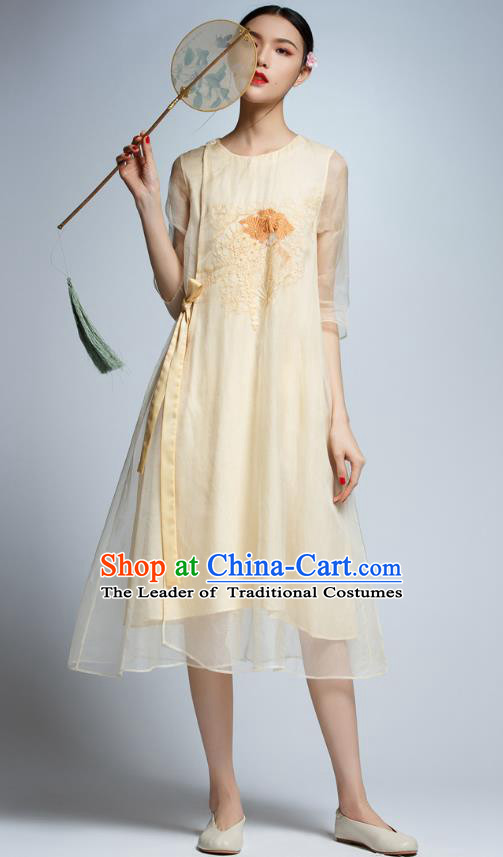 Chinese Traditional Embroidered Organza Yellow Cheongsam China National Costume Tang Suit Qipao Dress for Women