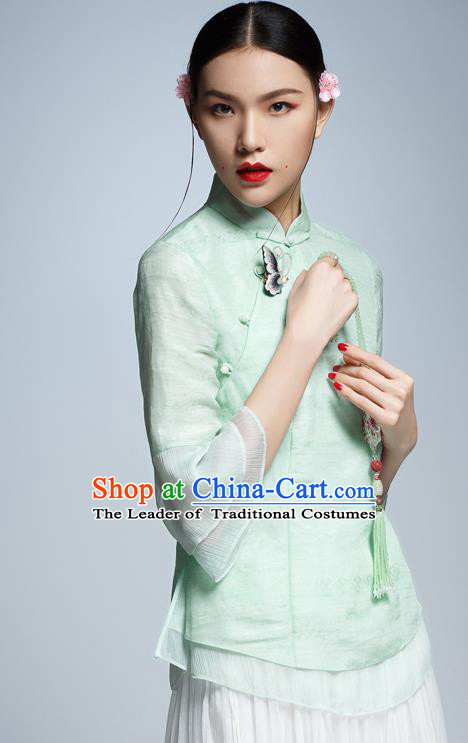 Chinese Traditional Costume Green Cheongsam Blouse China National Upper Outer Garment Shirt for Women