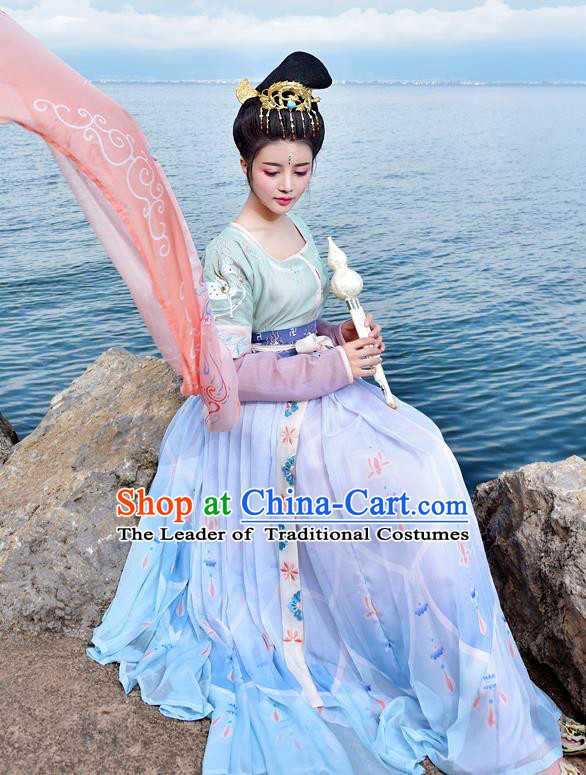 Chinese Tang Dynasty Princess Hanfu Dress Ancient Fairy Palace Lady Embroidered Costumes for Women
