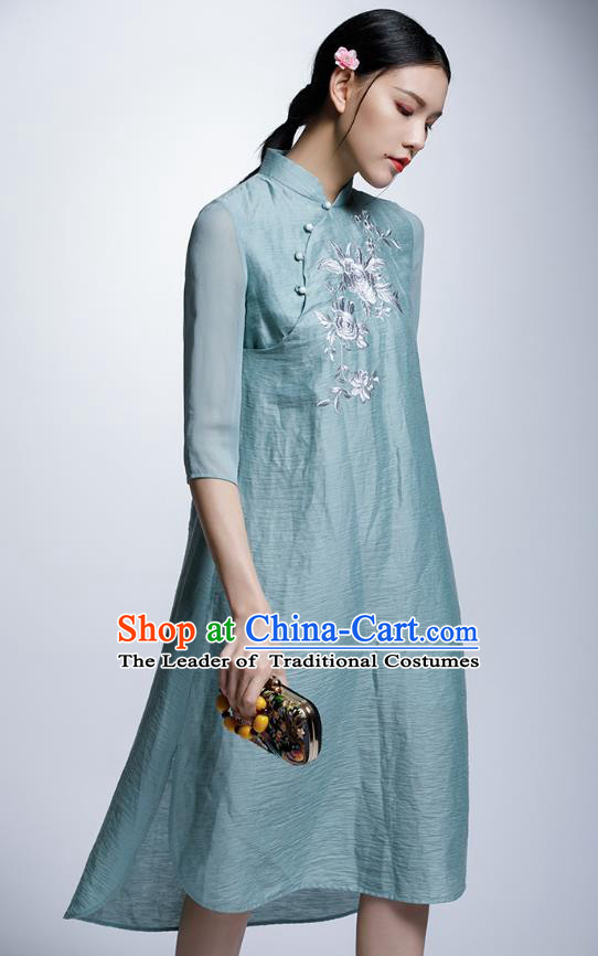 Chinese Traditional Embroidered Flowers Green Cheongsam China National Costume Tang Suit Qipao Dress for Women