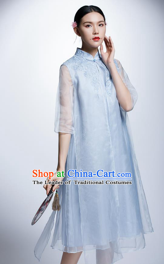 Chinese Traditional Costume Embroidered Blue Cheongsam China National Tang Suit Qipao Dress for Women