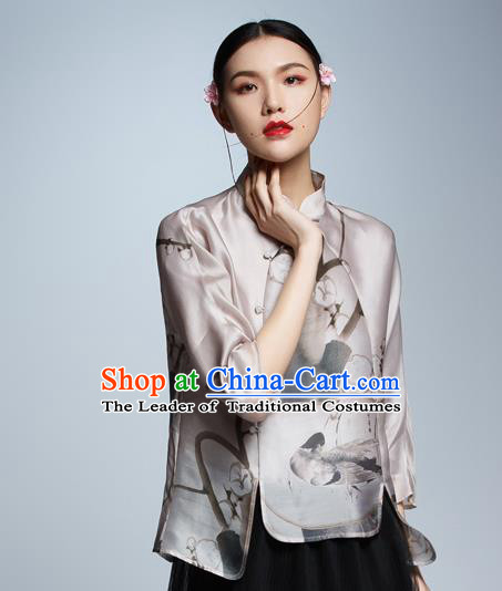 Chinese Traditional Costume Ink Painting Silk Cheongsam Blouse China National Upper Outer Garment Shirt for Women