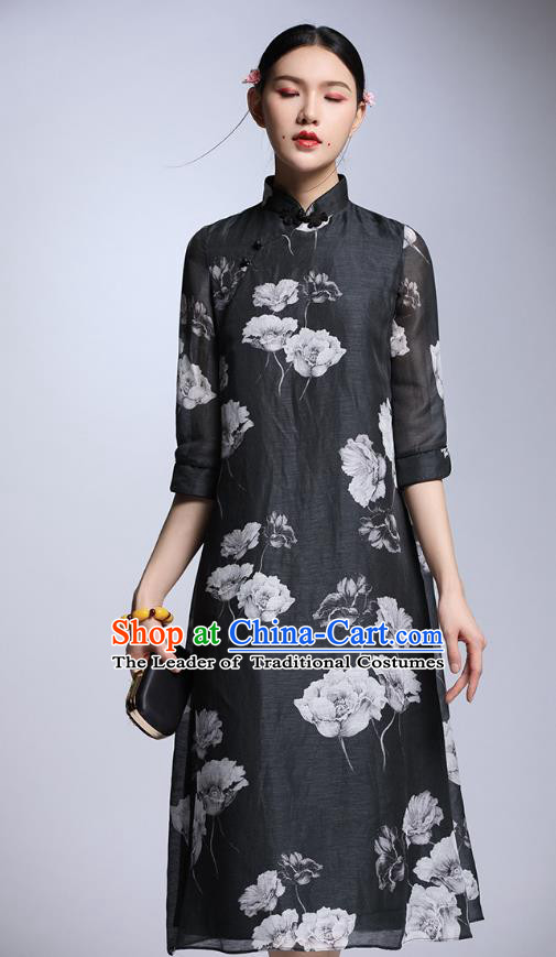 Chinese Traditional Tang Suit Printing Peony Black Cheongsam China National Qipao Dress for Women