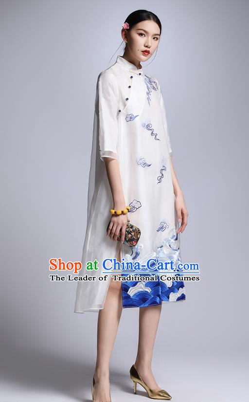 Chinese Traditional Tang Suit Embroidered White Cheongsam China National Qipao Dress for Women