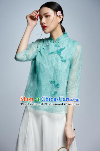 Chinese Traditional Costume Embroidered Crane Green Cheongsam Blouse China National Upper Outer Garment Shirt for Women
